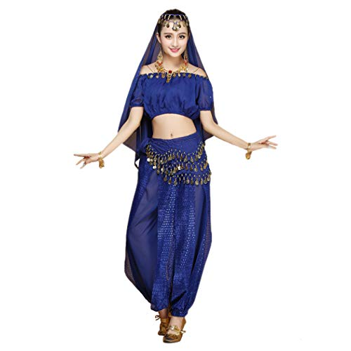 Maylong Women's Short Sleeve Belly Dancing Outfit Halloween Costume DW18 (Royal Blue) -