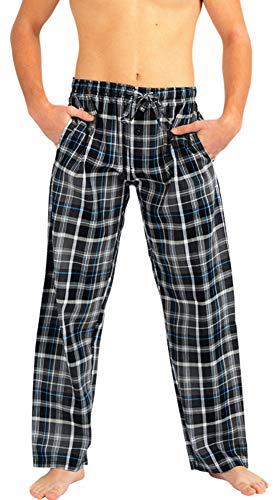 Mens Poplin Pants - NORTY - Mens Woven Poplin Plaid Sleep Lounge Pajama Pant, Charcoal 40768-Large