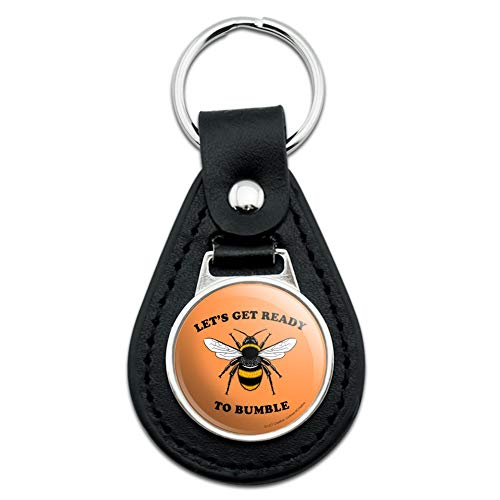 Let's Get Ready to Bumble Bee Rumble Funny Humor Black Leather Keychain -