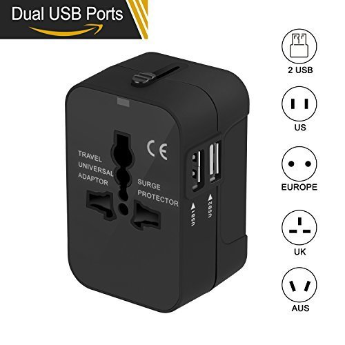 Travel Adapter, Xcords Worldwide All in One Universal Travel Plug Adapter AC Power Plug Converter High Speed Wall Charger with 2 USB Charging Ports Sync for USA EU UK AUS (Black) (Ac Plug Travel Power)