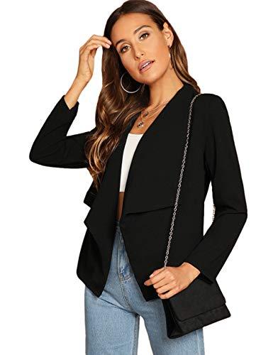 Milumia Women's Long Sleeve Casual Waterfall Collar Jacket Cardigan Coat