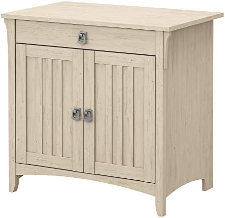 Bush Furniture Salinas Secretary Desk with Keyboard Tray and Storage Cabinet in Antique White