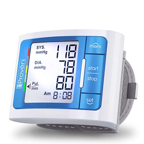 [2020 Model with Backlight] iProven Blood Pressure Cuff Wrist - BP Monitor with Backlight and Large Screen - 60 Reading Memory and Batteries Included (Blue)