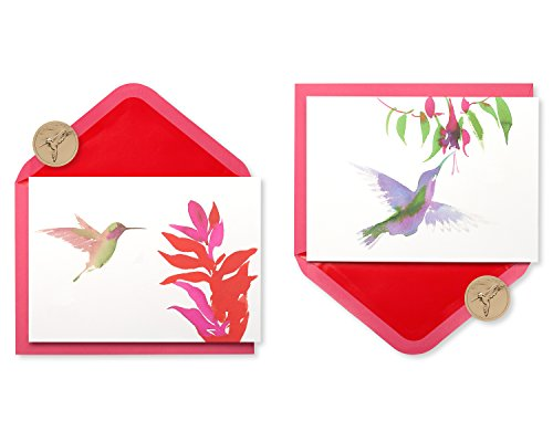 Papyrus Watercolor Hummingbirds Keepsake Boxed Blank Note Cards, 20-Count