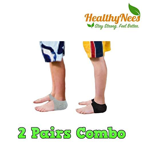 (HealthyNees Kid's 2 Pairs Combo Set Foot Heel Arch Pain Pressure Neoprene Gel Silicone Cushioning Sleeve)