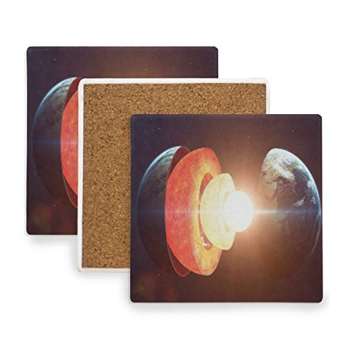 Decompose Earth Planet Space Ceramic Coasters for Drinks,Square 4 Piece Coaster Set