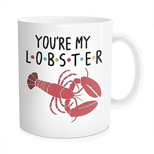 Hasdon-Hill You're My Lobster Coffee Mug, Inspired By Friends Tea Cup, Funny Unique Quote Novelty Gift For Husband, Wife, Boyfriend, Anniversary, Christmas, Bone China 11 OZ White