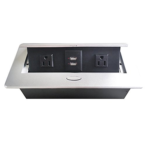 ZESHAN Damped Multimedia Outlet Connection Box Desktop Pop Up Socket with Power and USB Charger for Conference Room
