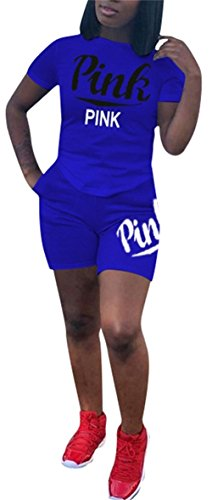 Molisry Women 2 Piece Outfits Letter Print Short Sleeve Tops Short Pants Jumpsuits Rompers Sweatshirt (Print Jumper Set)