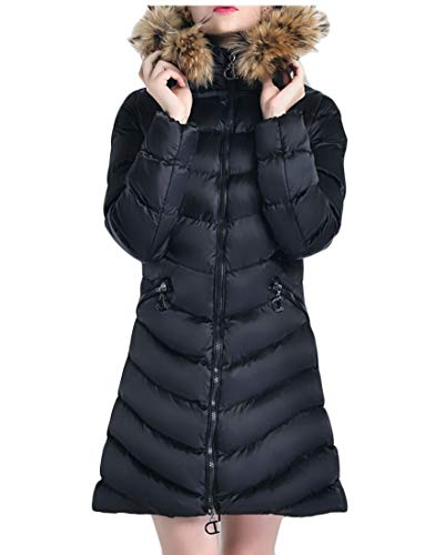 Black Jackets Down Casual Womens with EKU Coats Trim Long Hood zx1qwTn4