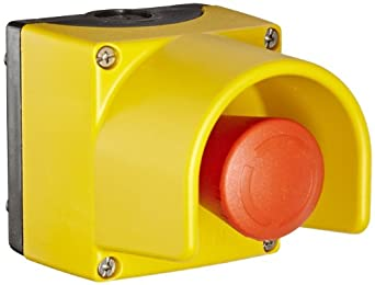 Siemens 3SB38 01-0EF3 Standard Operator Enclosure and Emergency Stop Mushroom Pushbutton, Molded Plastic Enclosure, 1 Pilot Device, 40mm Head, Positive Latching, Rotate To Unlatch, Protective Collar, 2 NC Contact Block Function