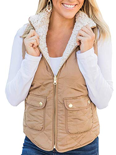 Women Jacket Vest Sleeveless Shearling Lined Puffer Fall Winter Padded Coat Gilet (Khaki, X-Large)