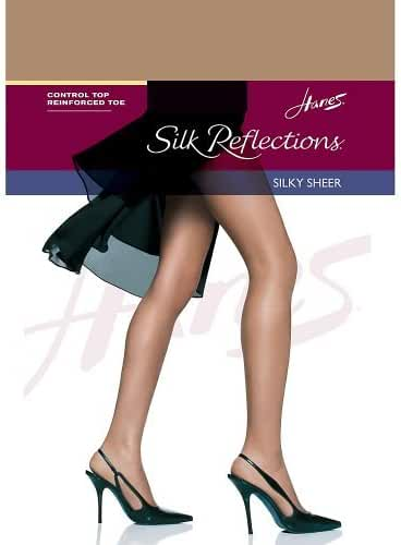Hanes Womens Silk Reflections Control Top Reinforced Toe Pantyhose- Set of 3