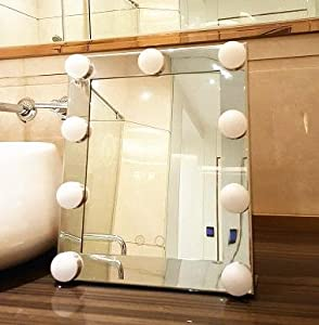 gyjz with light bulb vanity mirror desktop portable make up mirror folding le. Black Bedroom Furniture Sets. Home Design Ideas