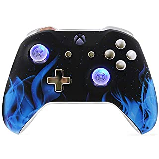 Chromium Blue Fire UN-MODDED Custom Controller Compatible with Xbox One S Unique Design (with 3.5 Jack)