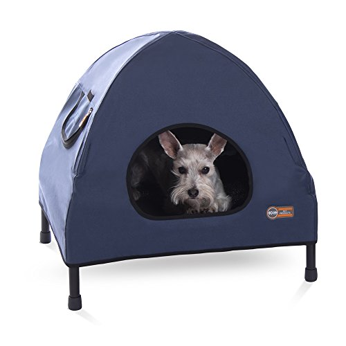 K&H Pet Products Original Pet Cot House Small Navy Blue – Indoor & Outdoor Elevated Pet Bed & Shelter (17″ x 22″ x 22″)