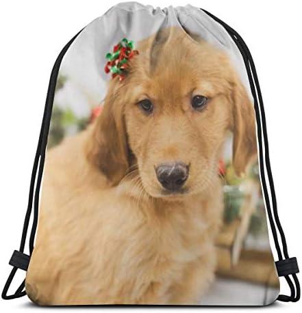 ゴールデンレトリバーの子犬ドローストリングバックパックバッグレディース&メンズスポーツジムバッグ36 x 43cm
