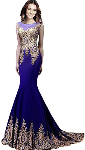 Rong store Rongstore Women`s Sleeveless Mermaid Evening Dresses Beaded Lace US2 Royal Blue ()