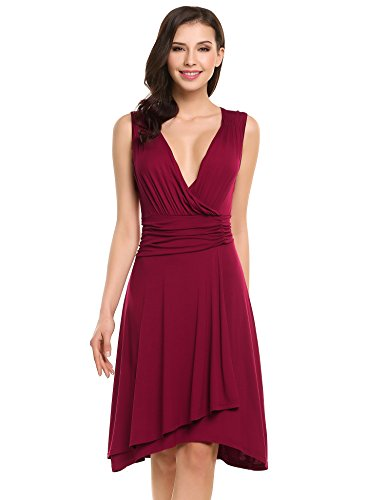 V-Neck Ruched Waist Dress - 3