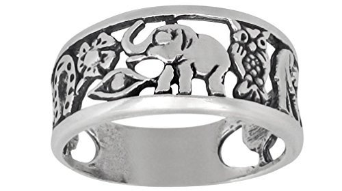 eJewelryPlus Lucky Ring Sterling Silver Oxidized Good Luck Elephant Clover Horseshoe Owl Seven Evil Eye 4 Leaf (10)