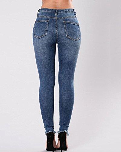 Buco Ricamati Floreale Jeans Strappato marino Attillati Donne Vita Si Alta Blu IOTSqg
