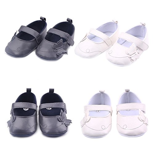 exiu Baby Girl Boy zapatos de piel sintética antideslizante suave única prewalker zapatos 0–12M gris gris Talla:9-12 meses gris