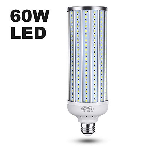 AOLARY 60 Watt(450W Equivalent) LED Corn Light Bulb,LED Garage Light,5500 Lumen 6500K,Cool Daylight White LED Street & Area Light,for Outdoor Garage Warehouse High Bay Backyard and More