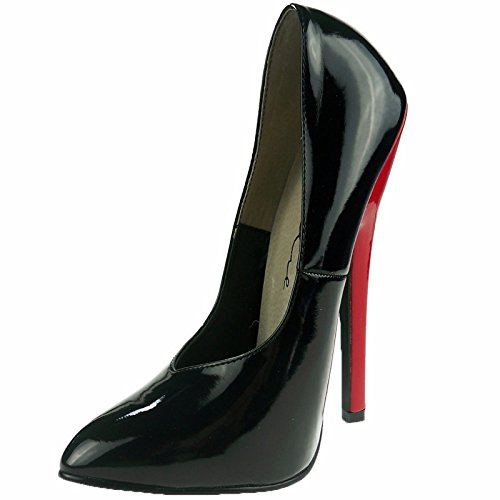 Women's 6 Inch Heel Fetish Pump (Black/Red;13)