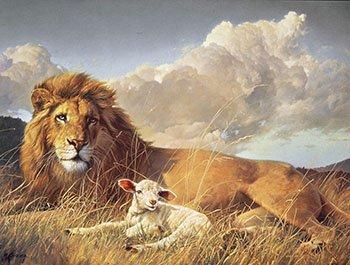 Amazon.com: Nancy Glazier PEACE AND HARMONY Lion & Lamb Art CANVAS ...