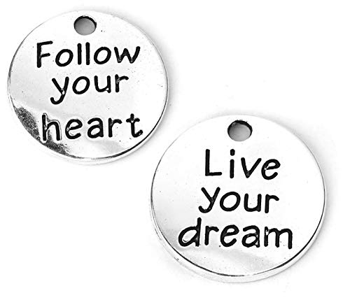 Inspirational Message Charm Pendants 60 Pack, 3/4 Inch (Follow Your Heart, Live Your Dream)