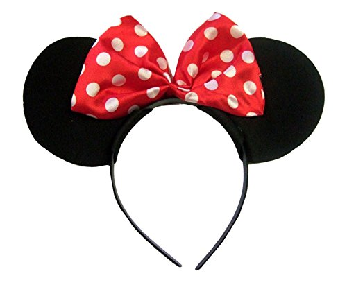 Cute Minnie Mouse Costumes For Kids (Girls Red and White Polka Dot Minnie Mouse Ears on a Black Velvet Alice Headband)