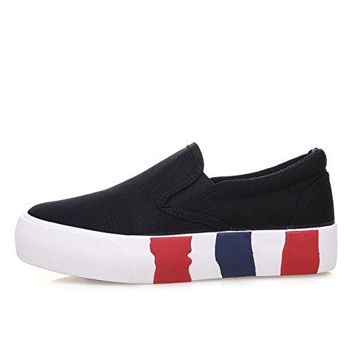 Zapatos de lona de color sólido en verano y el otoño/ zapatos casuales simple/Zapatos de suela gruesa/Mocasín/Zapatos del estudiante E
