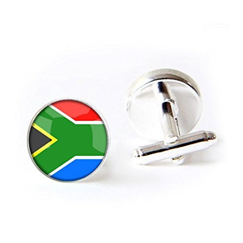 JEANCZ Jewelry Stainless Cufflinks The Republic of South Africa National Flag 4 Base Colors Selection Classic Tuxedo Shirt Cufflinks with Elegant Storage Display Box by JEANCZ