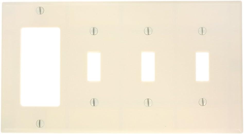Leviton P326-T 4-Gang 3-Toggle 1-Decora/GFCI Device Combination Wallplate, Light Almond