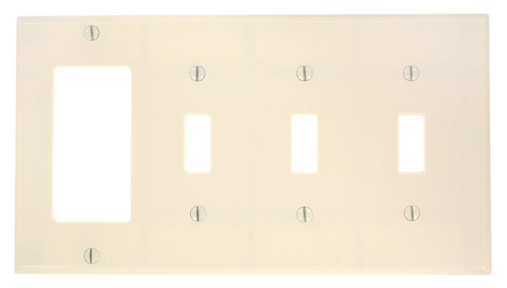 White Leviton P326-W 4-Gang 3-Toggle 1-Decora//GFCI Device Combination Wallplate