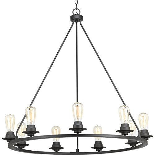 Progress Lighting P400016-143 Transitional Nine Light Chandelier from Debut Collection in Bronze/Dark Finish, Graphite