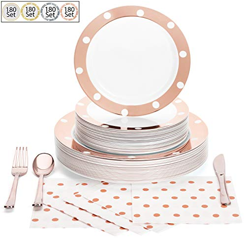 180 Pcs Serves 30, Rose Gold Party Supplies Set | Reusable | No Flimsy Plates Or Weak Cutlery | Polka Dot Disposable…