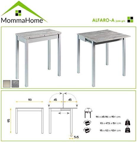 Mesa de Cocina Extensible - Modelo AFARO Alta - Color Jade Gris/Plata - Material MDF/Metal - Medidas 90 x 45/90 x 95 cm: Amazon.es: Hogar