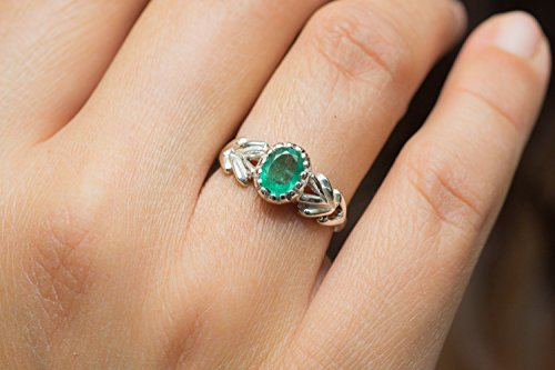 - Shraddha Shree Gems Certified Emerald Ring zambian Emerald Ring Silver Emerald Ring Modified Bezel Set Emerald Natural Emerald Ring Chevron Ring (Fast Shipping)