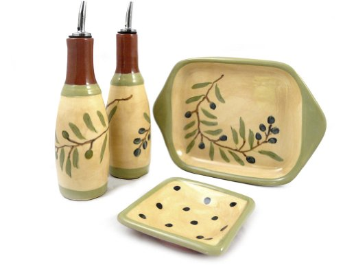 American Made Terra Cotta Pottery Oil and Vinegar Serving Set with Cruets, Dipping Dish, and Serving Tray, Mediterranean Olive Branch Motif by Modern Artisans