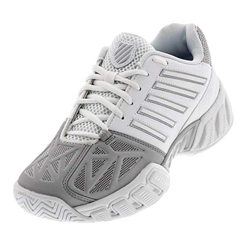 K-Swiss Juniors` Bigshot Light 3 Tennis Shoes White and Silver (3.5)