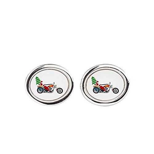 Truly Teague Cufflinks (Oval) Holiday Biker Santa on his Motorcycle/Chopper