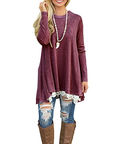 WEKILI Women's Tops Long Sleeve Lace Scoop Neck A-Line Tunic Blouse Red XL/US 16-18