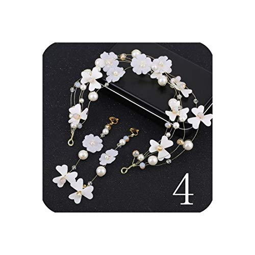 1Set Bridal Fairy Pink Flower headband Hair Jewelry band headdress and earrings Prom Party Wedding Hair Accessories For Brides,4