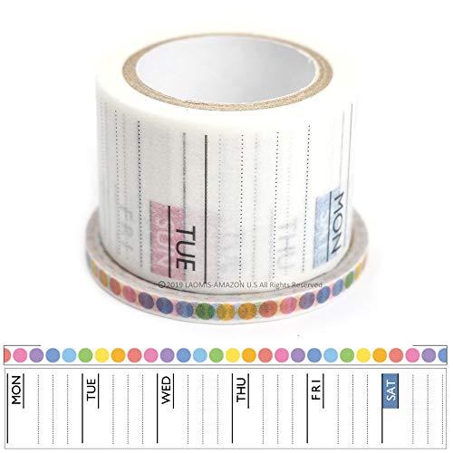 World Craft Japanese Washi Masking Paper Tape Set of 2 (Weekly + Dots)