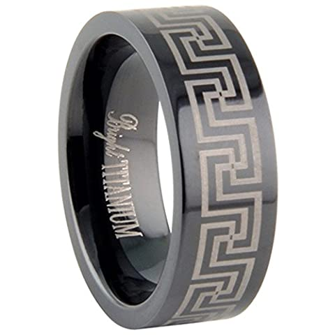 Custom Engraving 8MM Titanium Wedding Band Greek Key Design Promise Ring - Titanium Greek Key Ring