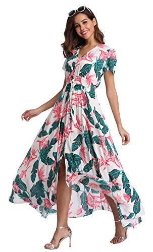 VintageClothing Women's Floral Print Maxi Dresses Boho Button Up Split Beach Party Dress, White_Hawaii, XL