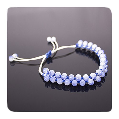 (PWMEN Wrist bracelet,Unisex Hand Crafted 8mm Beads Tibetan Buddhist Wrist Mala Bracelet for Meditation(Blue))