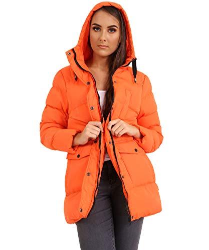 Femme Coat Ss7 Palangre 36 Capuche Orange Taille Rembourré 44 Puffer Parka qBCndBr