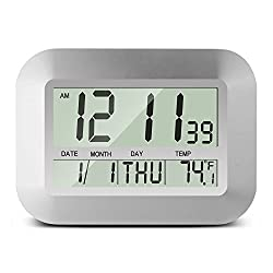 HeQiao Digital Wall Clocks Large Decorative LCD Table Alarm Clock with Calendar Temperature (Elegant Silver)